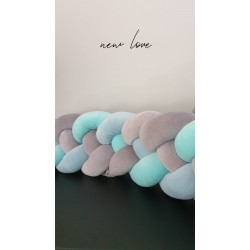 Exclusive Velvet Braid bumper  Grey _ultra  Grey _mint_pastel blue