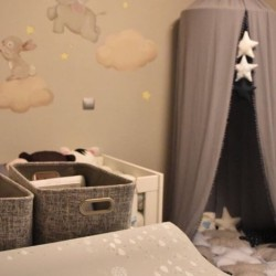 Bed canopy grey with pon pon