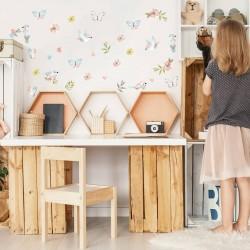 Αυτοκόλλητα τοίχου Πουλάκια Beige & Pink