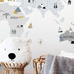 Αυτοκόλλητο τοίχου Grey maps